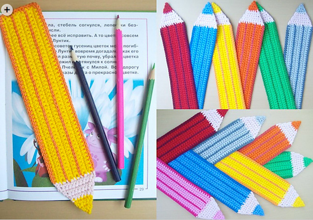 Pencil Bookmark by LittleOwlsHut, vía Ravelry