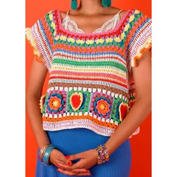 Kahlo Crop top de Katie Jones, vía lovecrafts.com