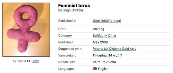 Feminist torus de Hugh Griffiths, vía Ravelry